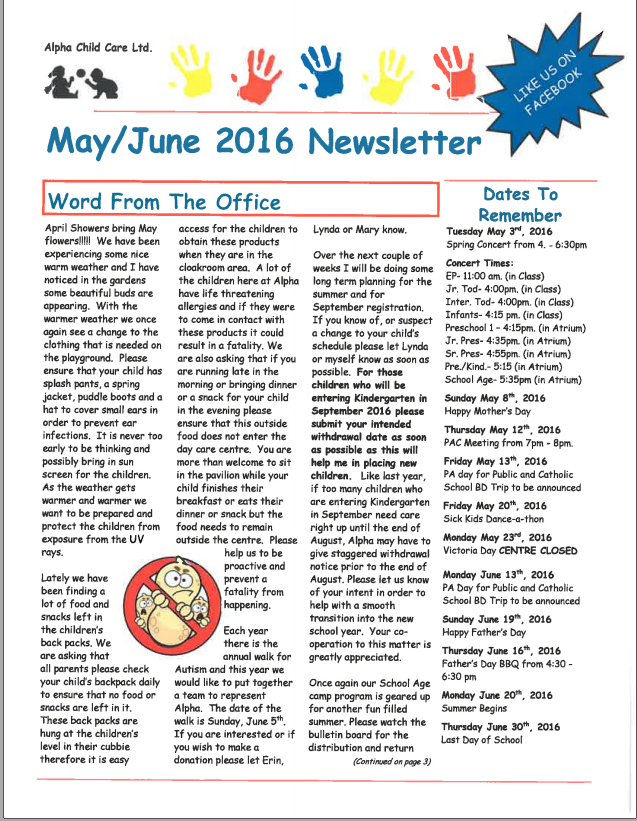 Csacc august 2014 newsletter creative school age child for Childcare newsletter templates